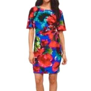 Tahari Poppy Pattern Flutter Sleeve Ruched Dress